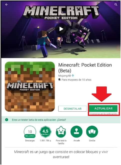 Actualizar Minecraft en Android