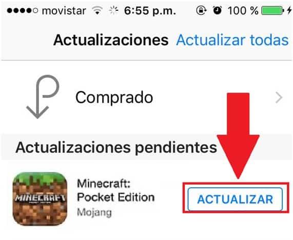 Actualizar Minecraft en iOS 2