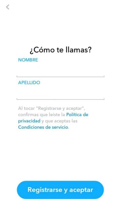 Imagen de formulario de registro en Snapchat