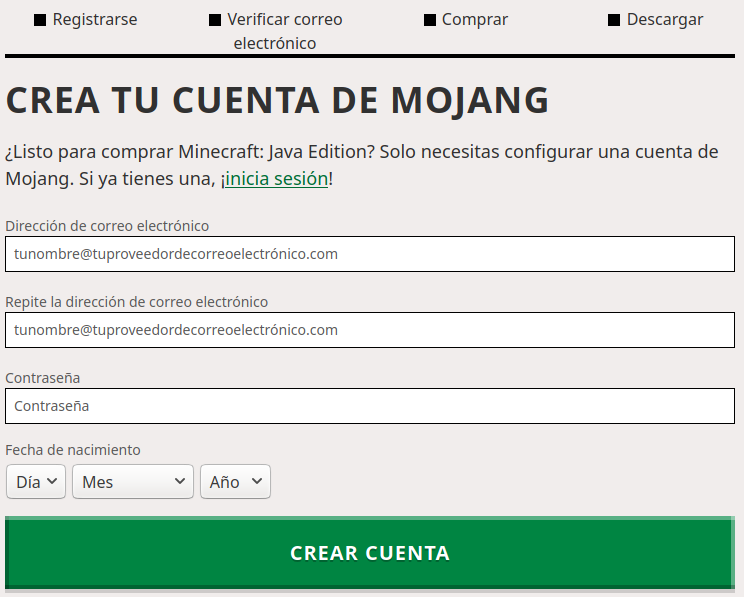 Registro de usuario Minecraft