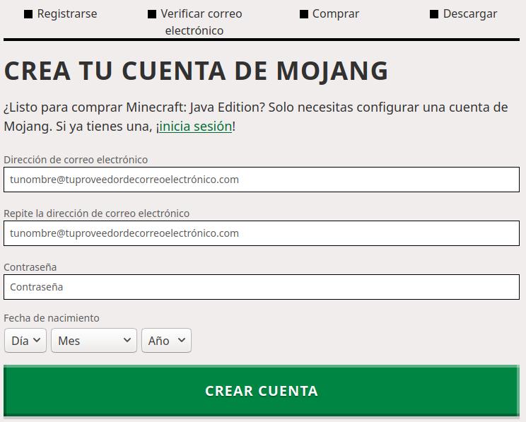 Registro de usuario Minecraft
